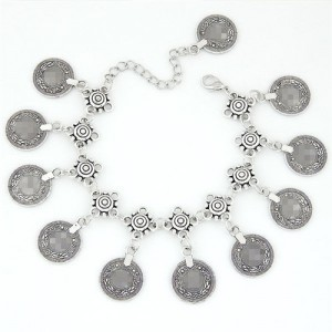 Vintage Coins High Fashion Alloy Anklet - Silver