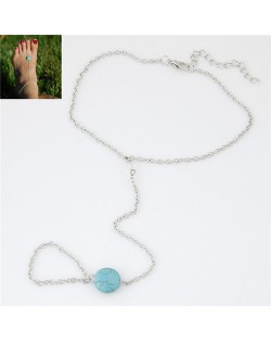 Artificial Turquoise Pendant Simple Chain Design Alloy Fashion Anklet