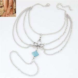 Square Artificial Turquoise Decorated Multi-layer Alloy Chain Fashion Women Anklet