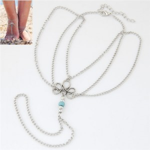 Alloy Flower and Beads Embellished Multiple Layers Fashion Women Anklet