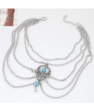 Artificial Turquoise Beads Embellished Waterdrop Pendant Design Multi-layer Fashion Women Anklet