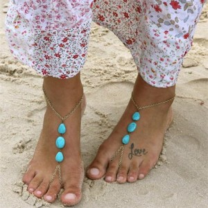 Vintage Triple Artificial Turquoise Beads Embellished High Fashion Women Anklet