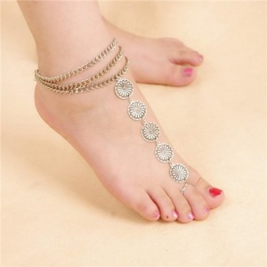 Vintage Daisy Style Toe Linked Women Fashion Anklet