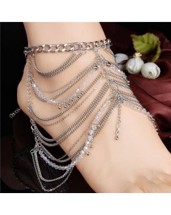 Multi-layer Alloy Chain and Beads Combo High Fashion Women Anklet
