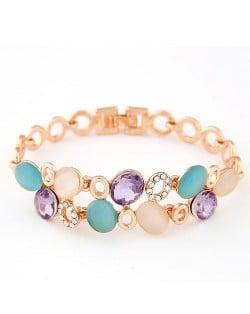 Elegant Colorful Gems Embelished Hollow Design Golden Bracelet