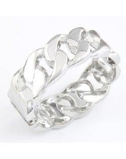 Exaggerating Dough Twist Hollow Shape Metallic Bracelet - Silver