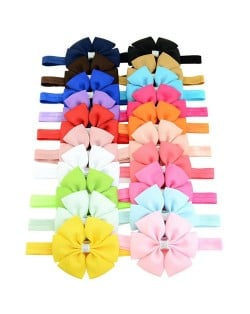 (20 pcs Per Unit) Multicolor Ribbon Bowknot Hair Bands for Baby/ Toddler