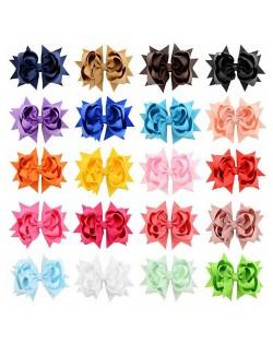 (20 pcs Per Unit) Ribbon Floral Design Baby Hair Clips