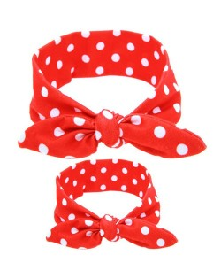 Spots Design Baby Hair Band Set - Red