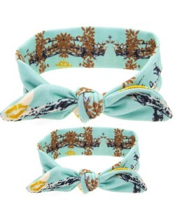 Sky Blue Leaves Prints Design Baby Hair Band Set