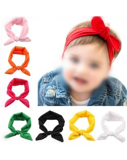 (12 pcs Per Unit)Solid Color Style Toddler Bowknot Hair Bands