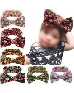 (6 pcs Per Unit) Floral Pattern Cloth Bowknot Baby Hair Bands
