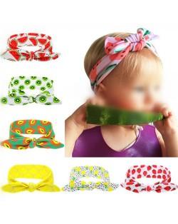 (6 pcs Per Unit) Summer Fashion Fruits Prints Cloth Bowknot Baby Hair Bands