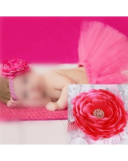 Romantic Rose Design Baby Hair Band and Dress Set