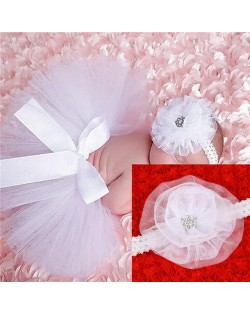 White Lace Floral Design Cute Bowknot Baby Hair Band and Dress Set