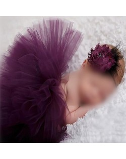 Purple Lace Flower Baby Hair Band and Dress Set