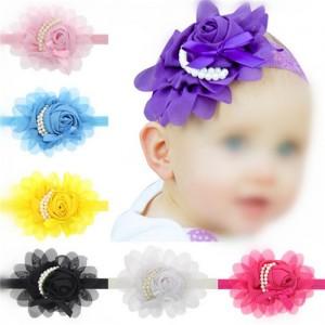 13 Pcs Per Unit Pearl Fashion Chiffon Flower Baby Hair Bands
