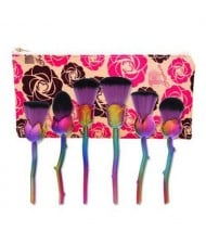 6 pcs Rose Style Nylon Fiber Fashion Makeup Brushes Set - Purple