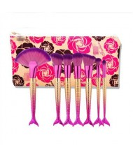Mermaid Handle Design 7 pcs Fashion Makeup Brushes Set - Rose
