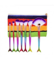 Mermaid Handle Design 7 pcs Fashion Makeup Brushes Set - Multicolor