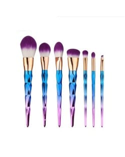 7 pcs Diamond Handle Design Fashion Makeup Brush Set - Blue