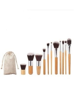11 pcs Bamboo Handle Fashion Makeup Brush Set