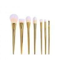 7 pcs Plain Handle Fashion Makeup Brushes Set - Golden