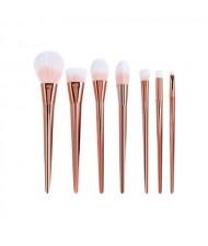 7 pcs Plain Handle Fashion Makeup Brushes Set - Rose Gold