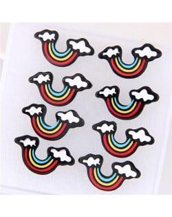 4 pcs Cartoon Rainbow Fashion Earrings Combo Set