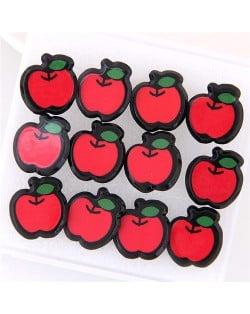 6 pcs Red Apple Fashion Stud Earrings Combo Set