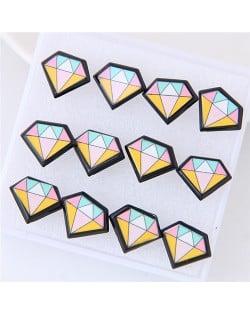 6 pcs Cartoon Diamond Fashion Stud Earrings Combo Set