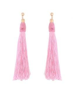 Weaving Fashion Threads Tassel Alloy Stud Earrings - Pink