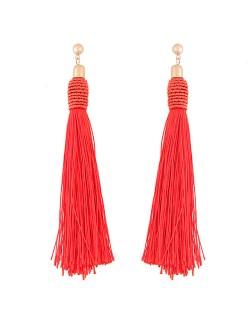 Weaving Fashion Threads Tassel Alloy Stud Earrings - Red