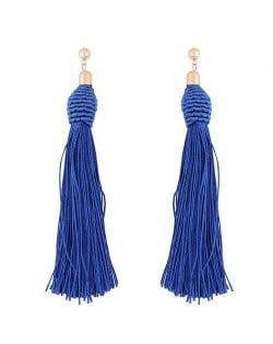 Weaving Fashion Threads Tassel Alloy Stud Earrings - Blue