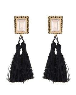 Oblong Gem Inlaid Golden Vintage Rim Threads Tassel Stud Earrings - Black