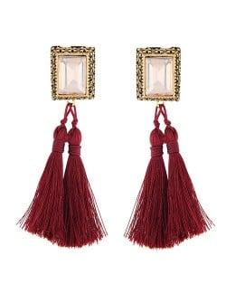 Oblong Gem Inlaid Golden Vintage Rim Threads Tassel Stud Earrings - Red