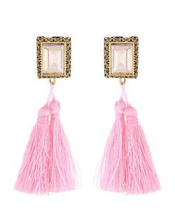 Oblong Gem Inlaid Golden Vintage Rim Threads Tassel Stud Earrings - Pink