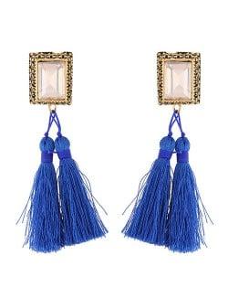 Oblong Gem Inlaid Golden Vintage Rim Threads Tassel Stud Earrings - Blue
