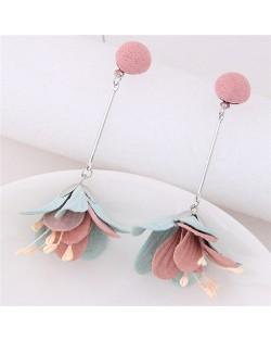 Sweet Vivid Cloth Dangling Flower Design Fashion Stud Earrings - Pink