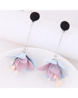 Sweet Vivid Cloth Dangling Flower Design Fashion Stud Earrings - Black