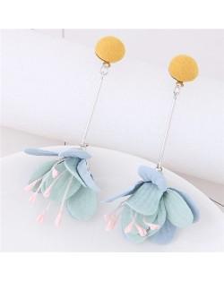 Sweet Vivid Cloth Dangling Flower Design Fashion Stud Earrings - Yellow