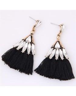 Glistening Glass Gem Embellished Threads Tassel Fashion Stud Earrings - Black
