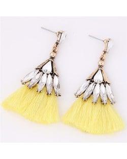 Glistening Glass Gem Embellished Threads Tassel Fashion Stud Earrings - Yellow