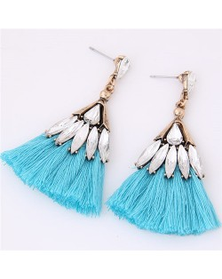 Glistening Glass Gem Embellished Threads Tassel Fashion Stud Earrings - Blue