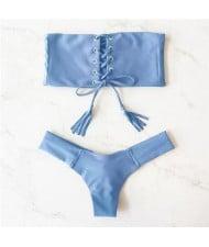 Hot Attractive Bandage Fashion Split Swimwear Set - Blue