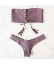 Hot Attractive Bandage Fashion Split Swimwear Set - Gray Purple