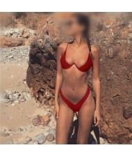 Push-up Padded Bra Design Solid Color Fashion Bikini Set - Red