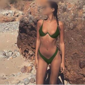 Push-up Padded Bra Design Solid Color Fashion Bikini Set - Army Green