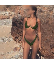 Push-up Padded Bra Design Solid Color Fashion Bikini Set - Army Green