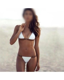 Push-up Padded Bra White Beach Style Fashion Bikini Set
